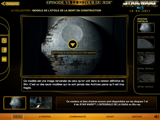 Star Wars : Blu-Ray sur iPad