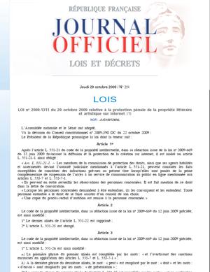 Hadopi 2 Devient La Loi N 2009 1311 Du 28 Octobre 2009 Politique