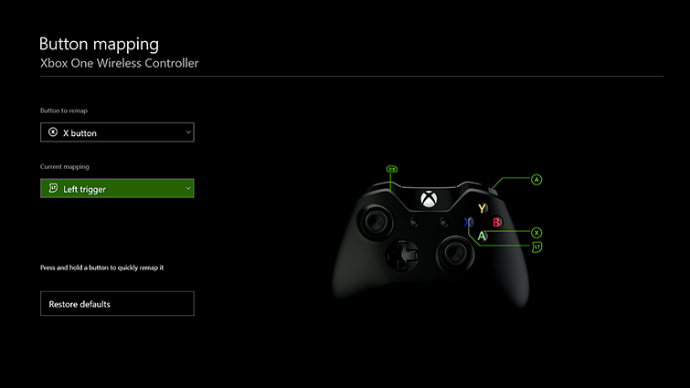 menu config manette Xbox One
