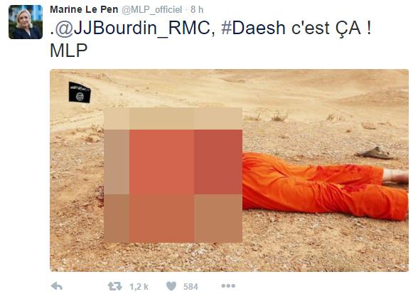 Photos d'exactions sur Twitter en 2015 : Marine Le Pen mise en examen