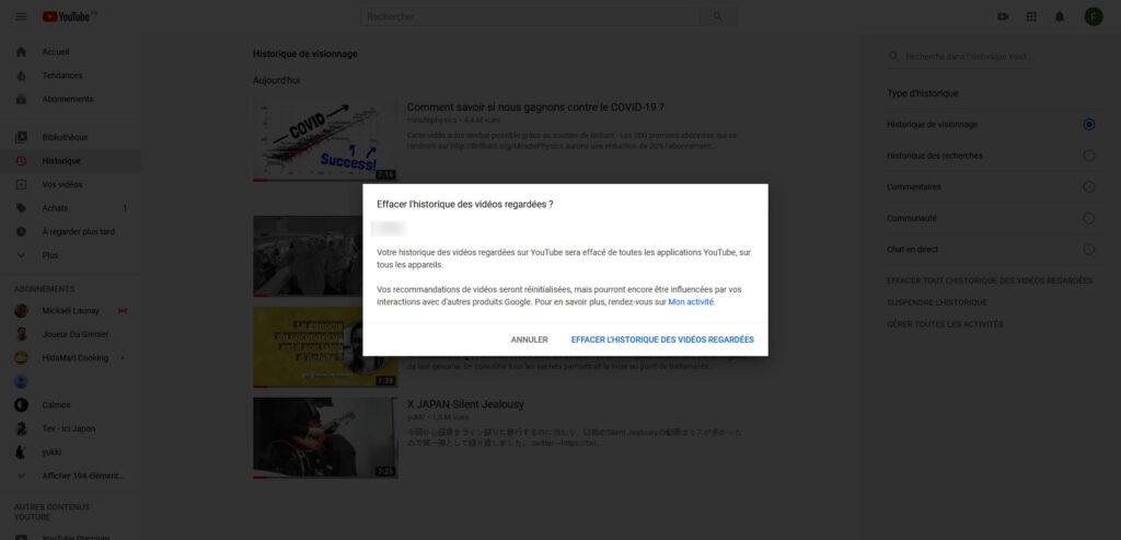 effacer historique youtube