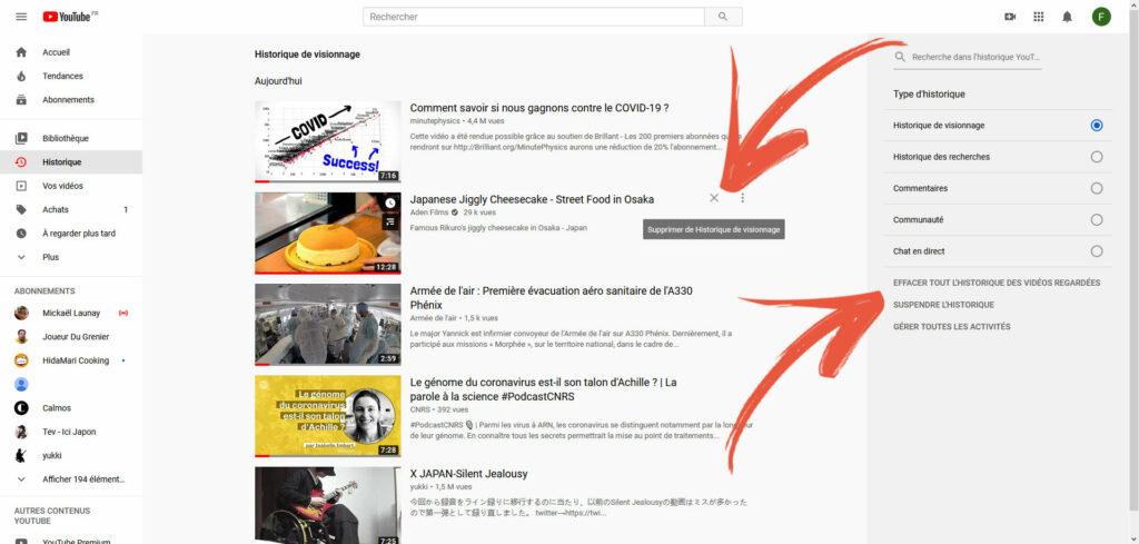 suppression historique youtube