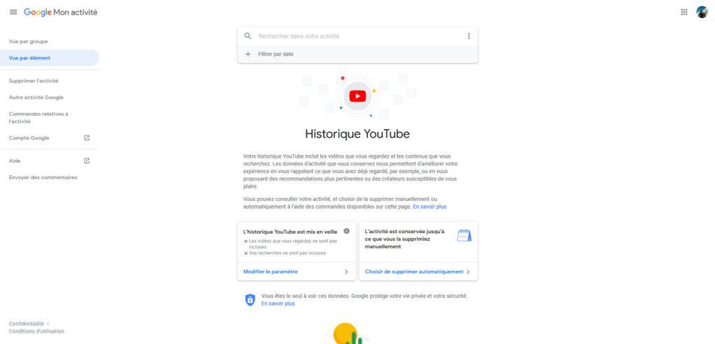 tableau de bord Google et paramètres de l'historique youtube
