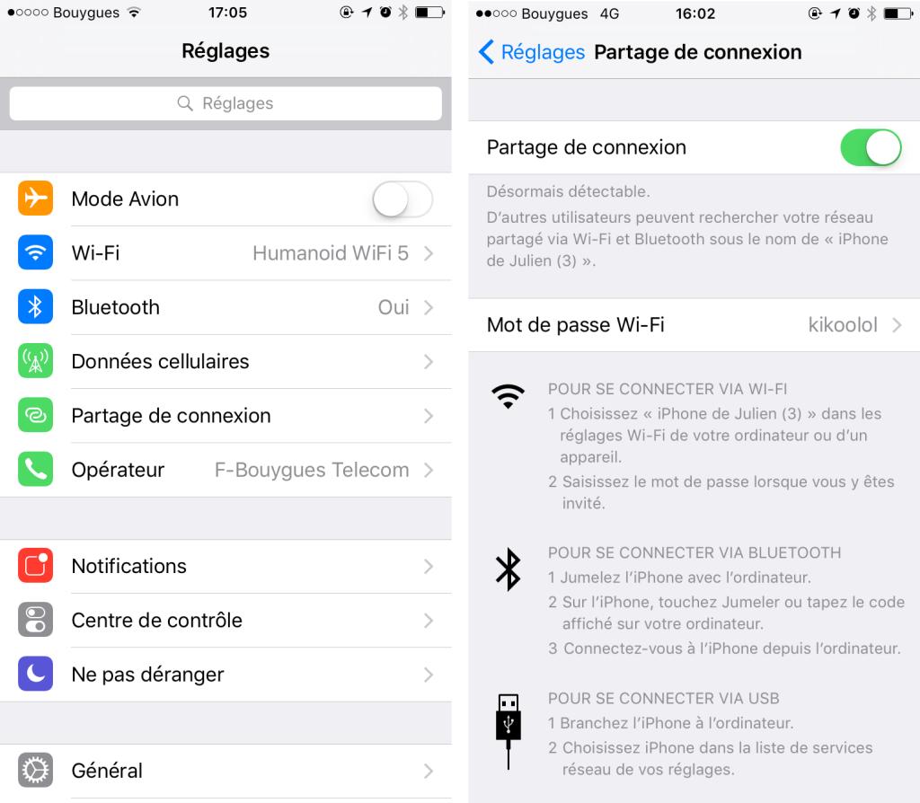Partage de connexion avec iOS
