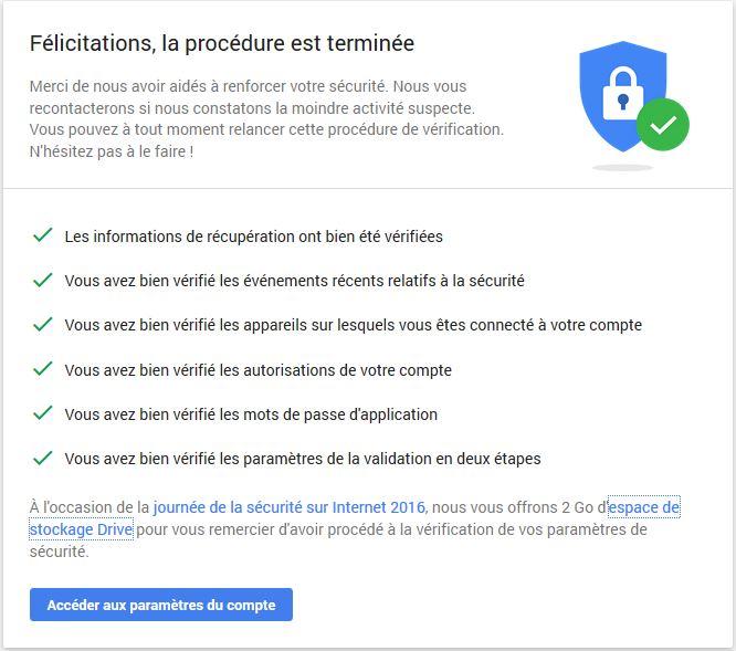 Google ajoute 2 Go sur Drive si vous vérifiez la sécurité de votre compte
