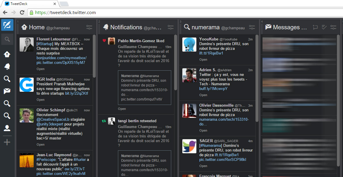 TweetDeck, version web