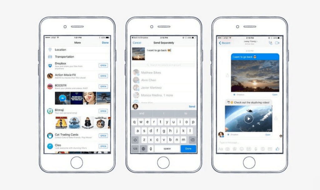 Dropbox désormais intégré dans Facebook Messenger