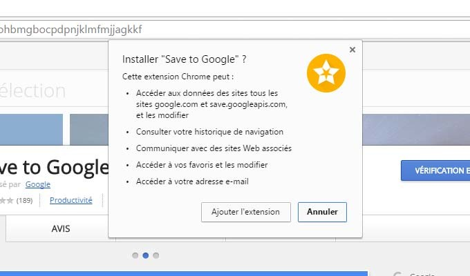 Droits Save to Google