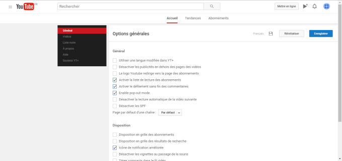 Capture liste YouTube Plus