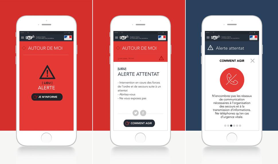 En cas d'alerte, l'utilisateur est prévenu et bénéficie de conseils pour se mettre en sécurité