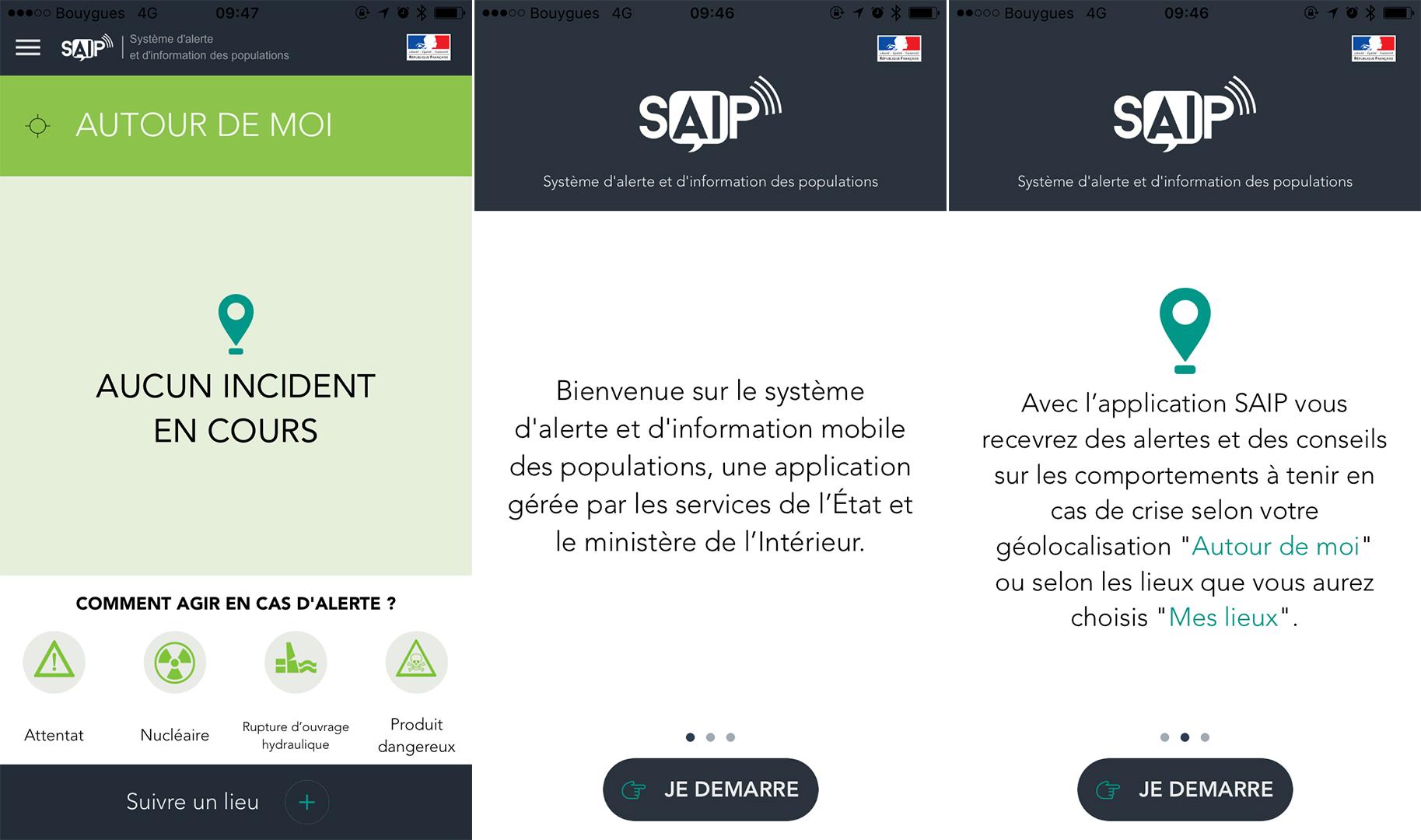 L'app SAIP développée par le gouvernement français