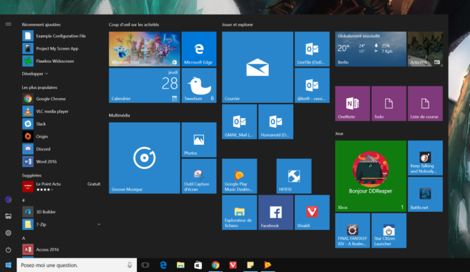 Anniversary Update Menu Demarrer Windows 10