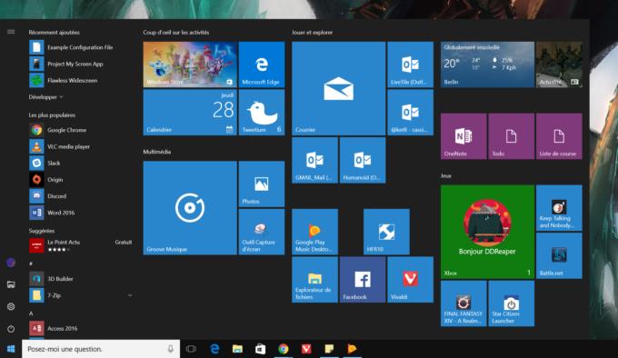 Anniversary Update Menu Demarrer Windows 10
