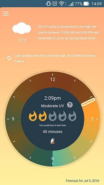 Uv lens une appli qui permet d 39 viter les coups de soleil tech numerama - Coup de soleil en anglais ...