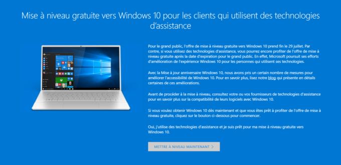 Windows 10 offre gratuite handicapés