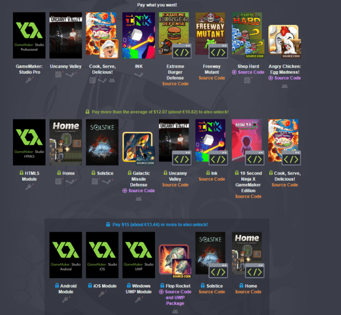 Humble GameMaker Bundle pay what you want and help charity