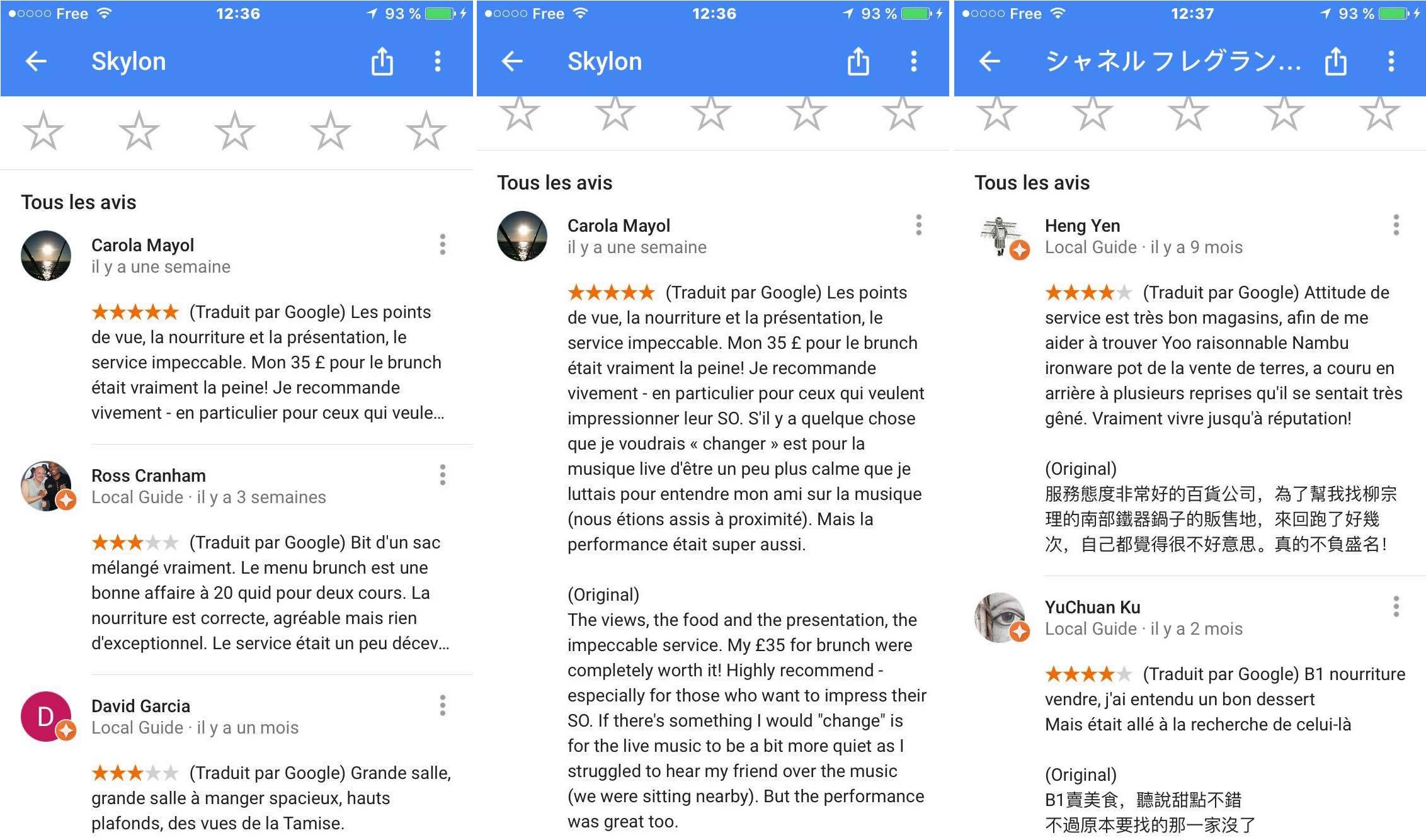 google traduit les avis sur les restaurants et les h tels dans votre langue tech numerama. Black Bedroom Furniture Sets. Home Design Ideas