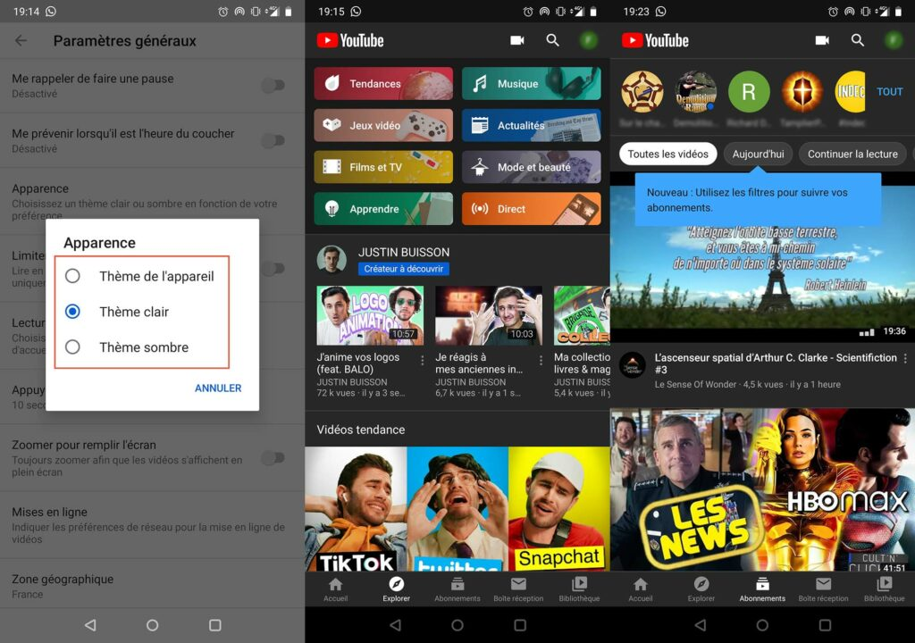 YouTube mode sombre Android 2