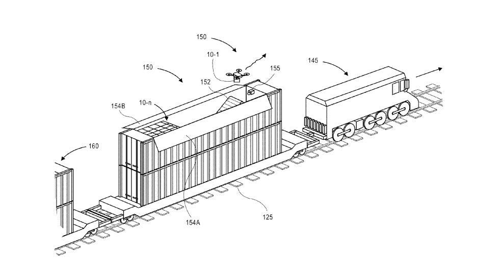 amazon imagine la livraison de colis avec des drones lanc s depuis un train tech numerama. Black Bedroom Furniture Sets. Home Design Ideas