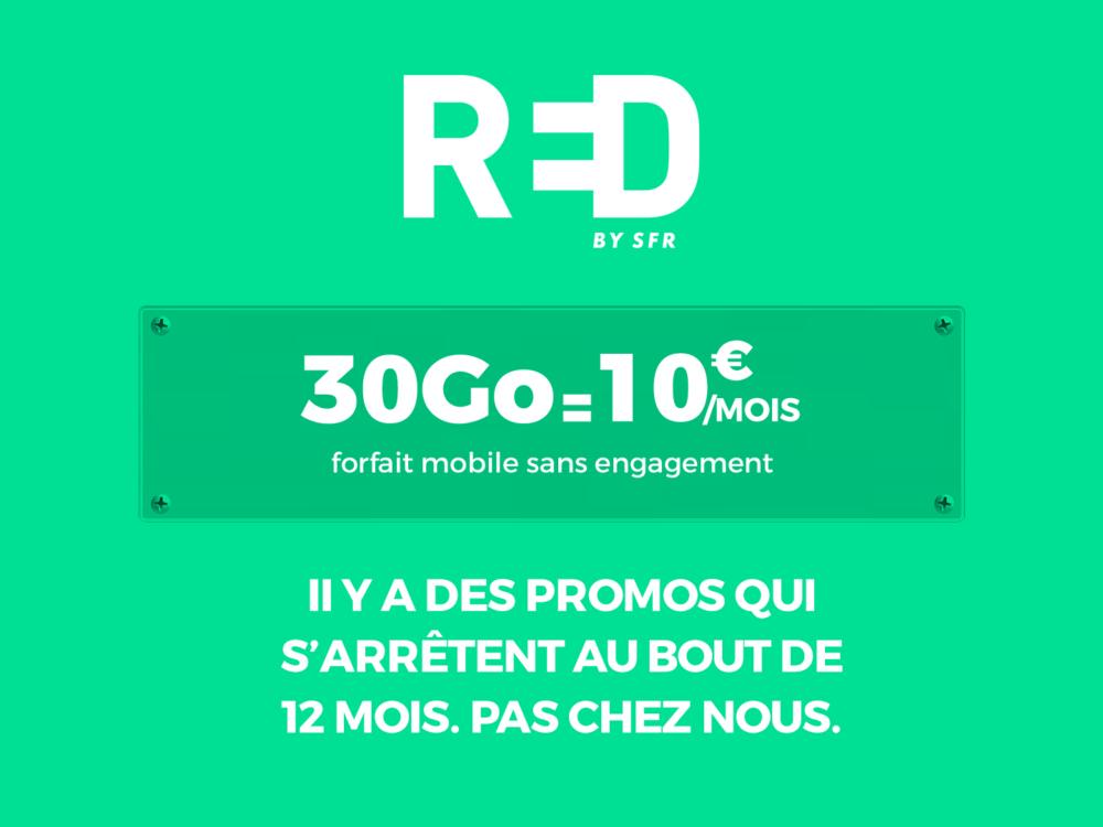 Bon plan RED by SFR : forfait de 30Go à 10€/mois