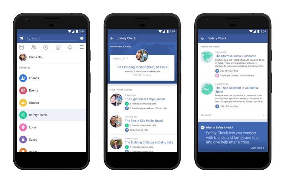 Le Safety Check avec accès permanent — Facebook