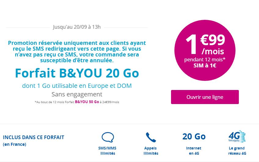 Offre B&You de 20 Go à seulement 1,99€ par mois — Promo