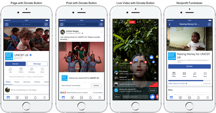 Facebook annonce le lancement de plusieurs outils de don caritatif