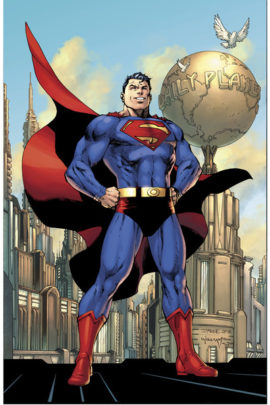 Image de Superman se tenant devant l'immeuble du Daily Planet.