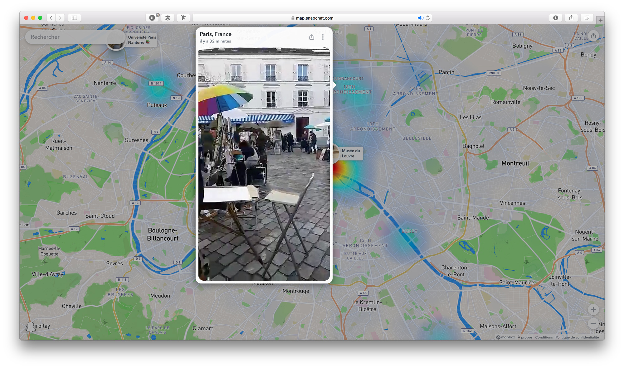 La Snap Map de Snapchat disponible en version web