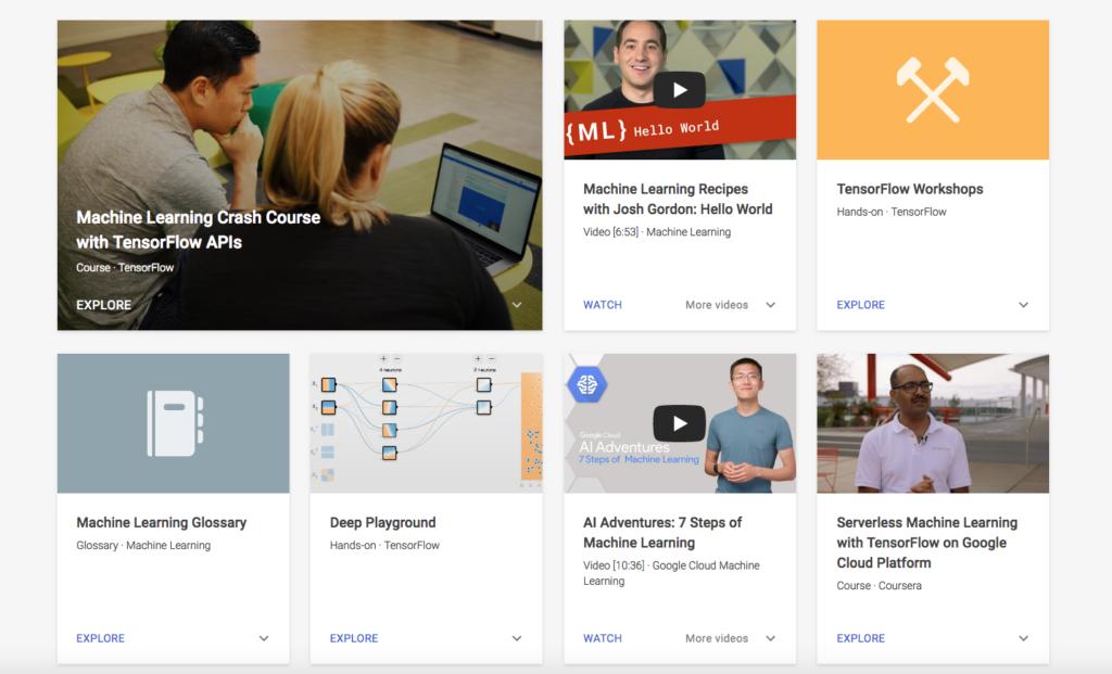 Capture d'écran des différentes ressources disponibles sur la plateforme Learn with Google AI.