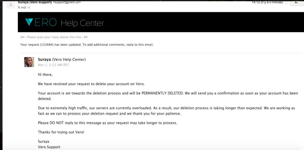 Capture d'écran de l'e-mail reçu de la part de Vero après la demande de suppression.