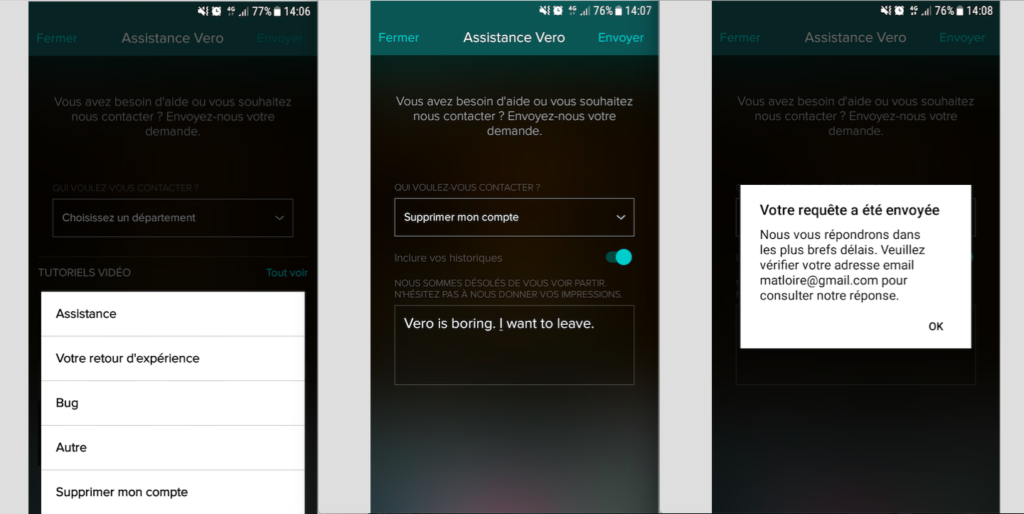Capture d'écran des différentes étapes de suppression d'un compte Vero.