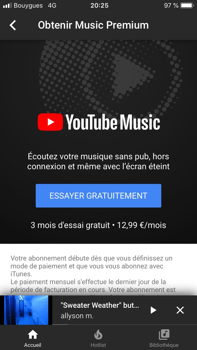 Do not create a YouTube Music Premium account with your