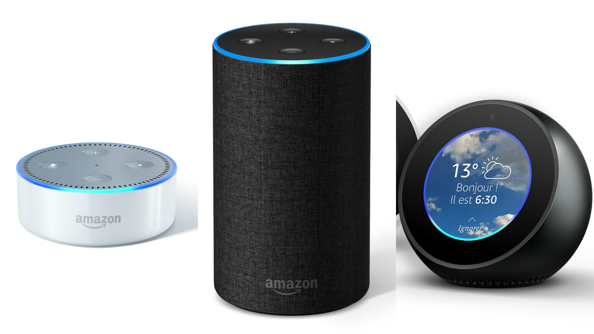 amazon echo et echo dot les enceintes connect es sont enfin disponibles en france tech. Black Bedroom Furniture Sets. Home Design Ideas