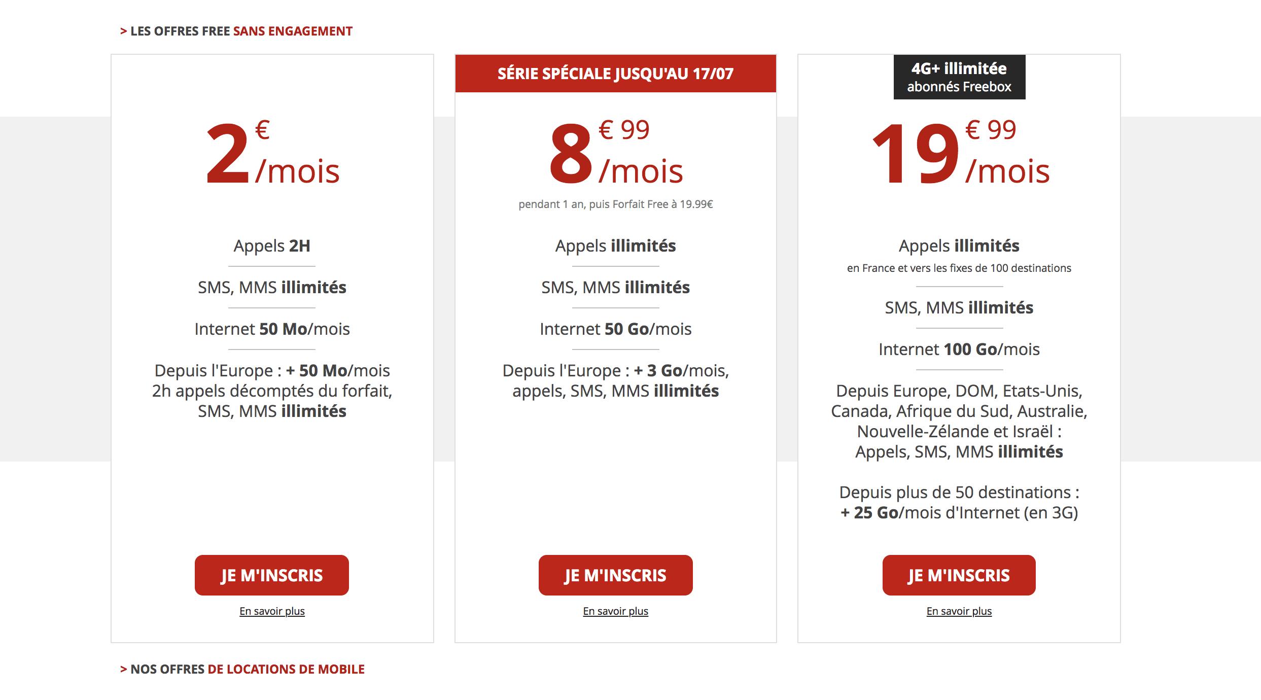 Free teste un troisième forfait mobile : 50 Go de data