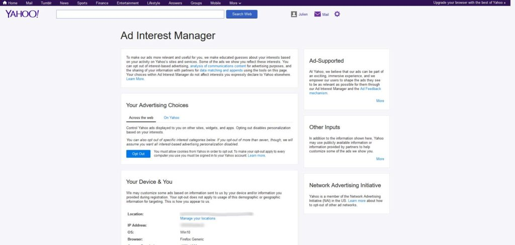 Ad Interest Manager