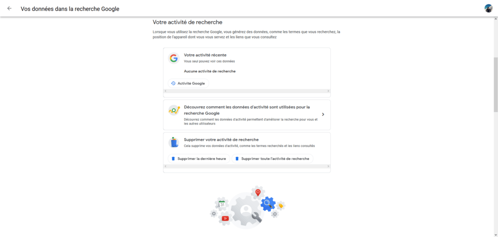 Vos données dans la recherche Google