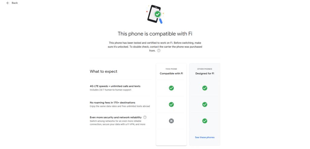 Compatibilité Google Fi