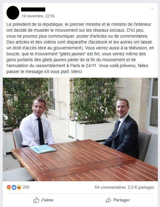 Facebook censure-t-il le mouvement des « Gilets jaunes