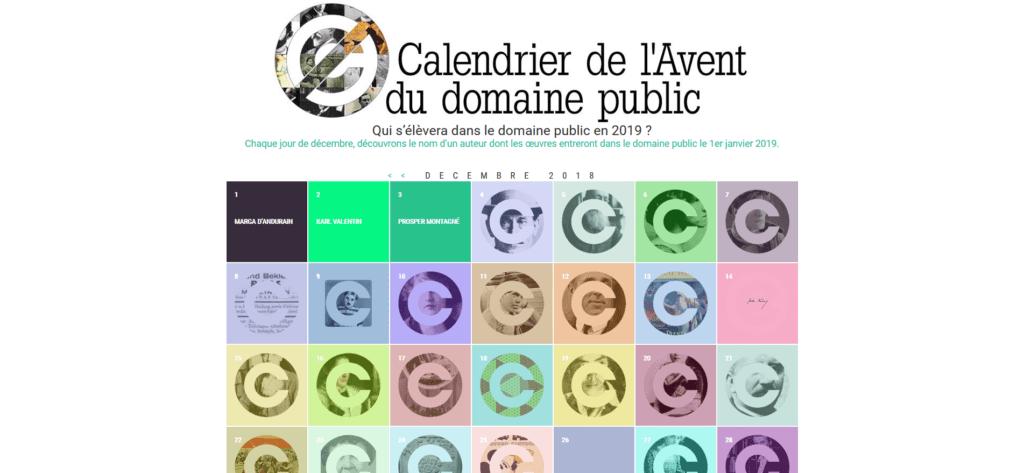 Calendrier de l'Avent 2019 Domaine Public