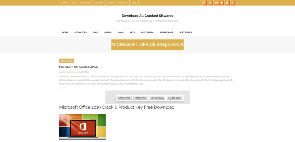 site promettant le piratage de Microsoft Office 2019