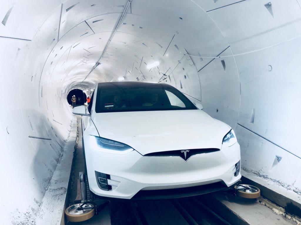 test tunnel boring company tesla