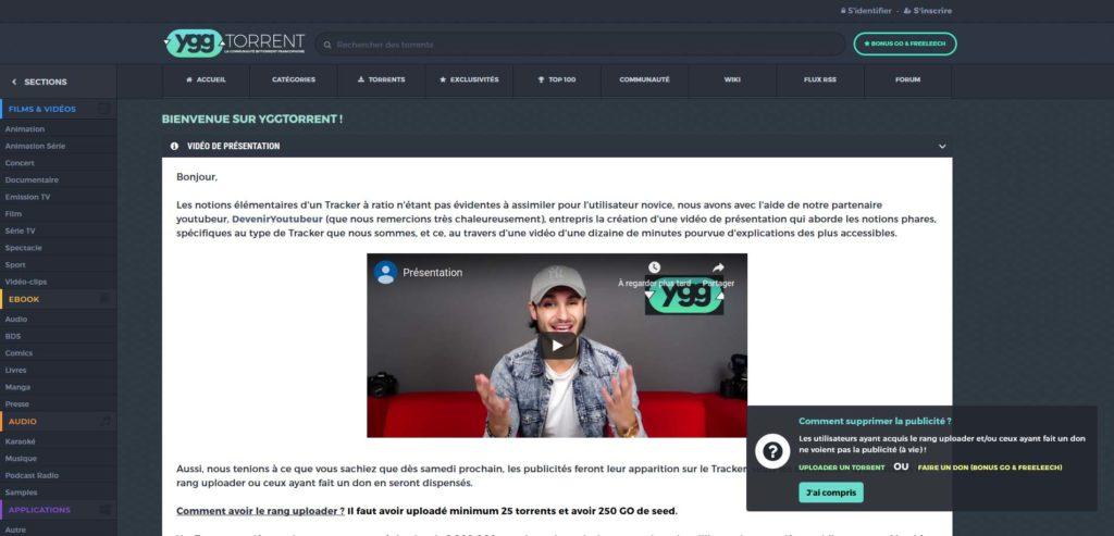 YggTorrent Popup Publicité