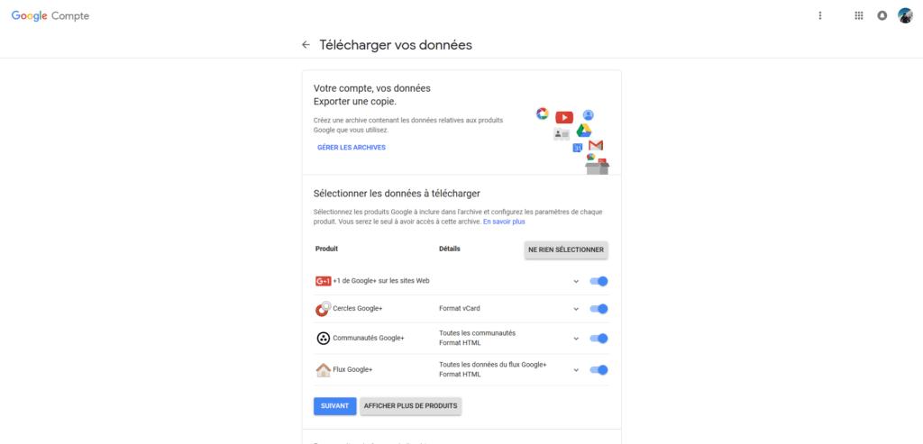 Google Plus Télécharger vos données