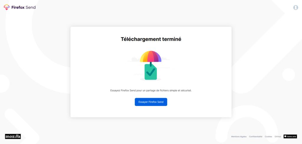 Firefox Send téléchargement