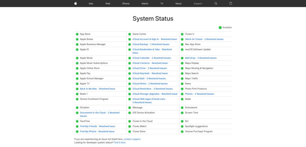 iCloud tableau de bord Apple