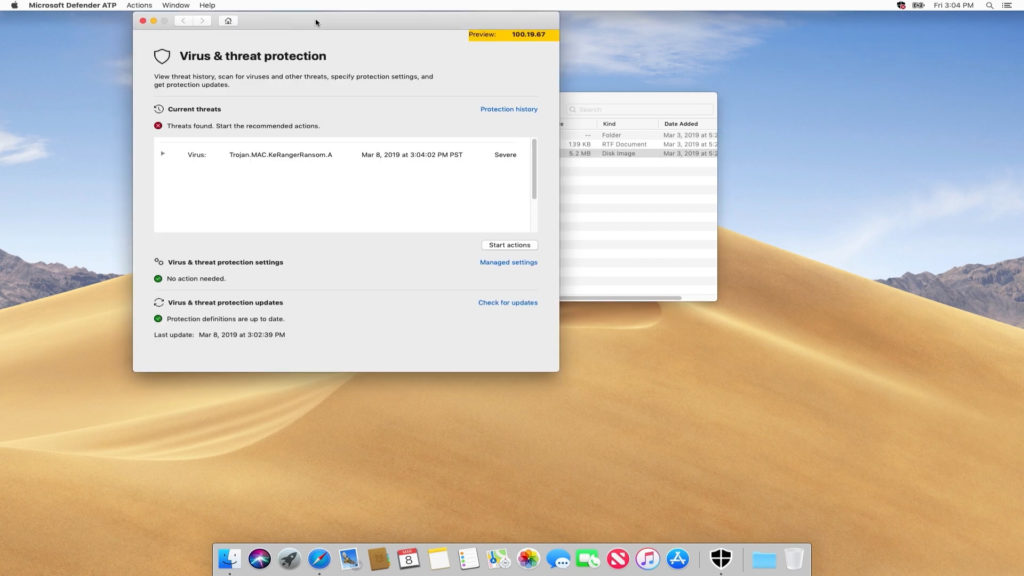 Microsoft Defender ATP Mac interface