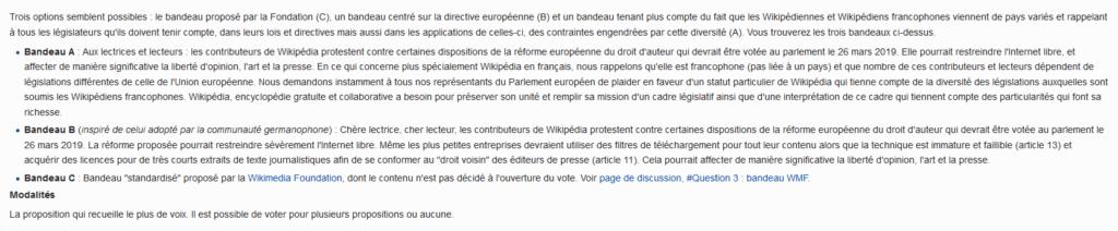 trois bandeaux wikipédia en français