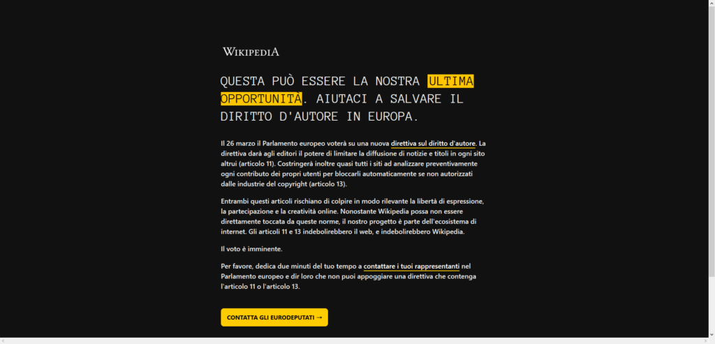 Wikipédia blackout italie