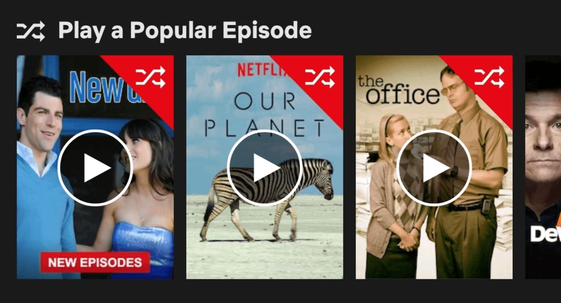 Netflix expérimente un curieux bouton « lecture aléatoire » pour des épisodes de séries